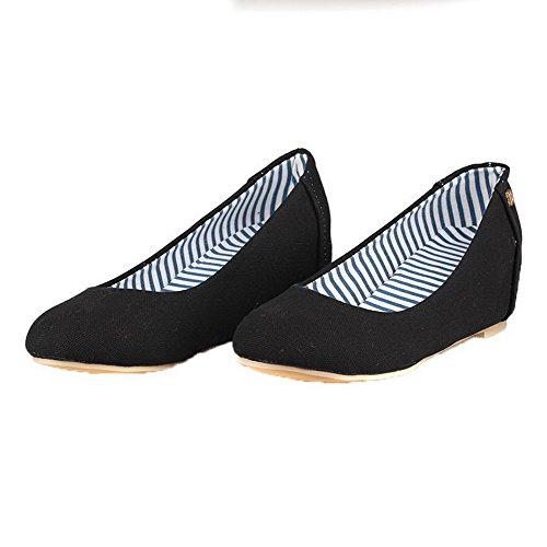 Chaussures Rond À En Légeres Tissu Couleur Femme Talon Noir Aalardom Unie Correct wUqzH81n