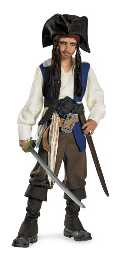 Disguise Disney Pirates of The Caribbean Captain Jack Sparrow Deluxe Child Boys Costume, Medium/7-8 (Captain Jack Sparrow Child Deluxe Costume)