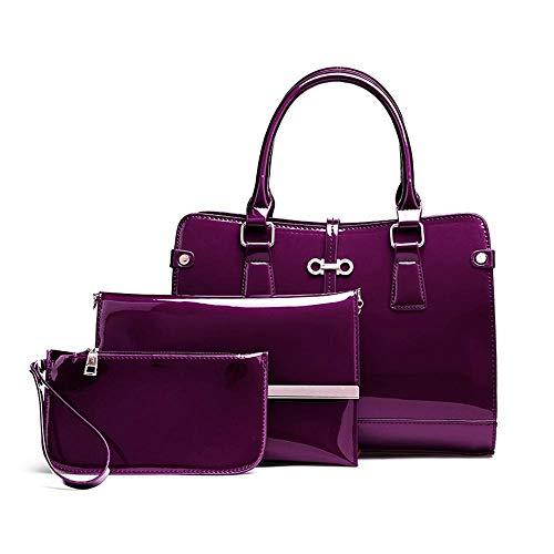 fourre Main épaule Dames Femme Three Sacs WWAVE Fashion pour à Cuir Piece Purple Sac Lady Tout TwCngqfx