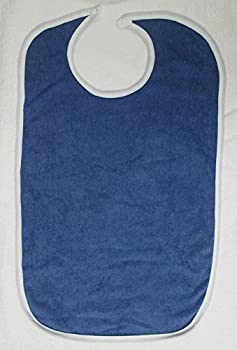 Terry Cloth Adult Washable Bib with Velcro Closure, Denim Blue
