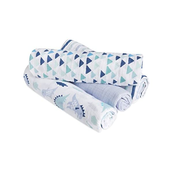 aden by aden + anais Swaddle Blanket | Muslin Blankets for Girls & Boys | Baby Receiving Swaddles | Ideal Newborn Gifts, Unisex Infant Shower Items, Toddler Gift, Wearable Swaddling Set, Dinos 4