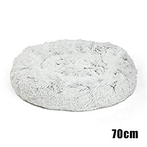 feelingood Pet Dog Cat Calming Bed Round Nest Warm Soft Plush Comfortable for Sleeping Winter (70cm, Gray)