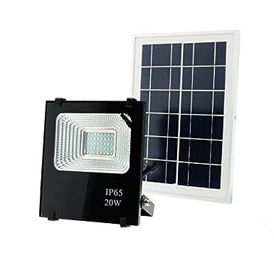 Foco LED Solar Exterior 100W Negro 6000LM IP66 Impermeable Luz Blanca 6000K /Ángulo 120/º Con Placa Solar y Mando Remote Jard/ín Patio Terraza Camping
