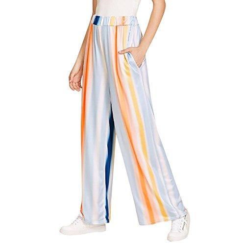 Birdfly Web Celebrity Style Milk Silk Colorful Stripe Pattern Fashion Casual Women Wide-Leg Pocket Pants Trousers On Sale (S, (Silk Wide Leg Trousers)