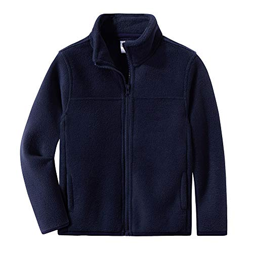 (Spring&Gege Youth Solid Full-Zip Polar Fleece Jacket for Boys and Girls Size 3-4 Years Navy Blue)
