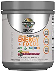 Garden of Life SPORT Organic Plant-Based Energy + Focus Vegan Pre Workout Powder, Sugar Free Blackberry Cherry