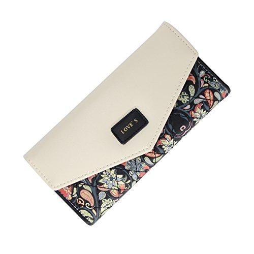 Womens Leather Wallet Purse Handbag Floral Money Clips Credit Card Case Holder Black Tri Fold Handbag
