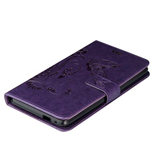 Erdong® Magnético Folio Flip Caso Con pata de cabra titular de la tarjeta Para Wiko Pulp FAB 4G 5.0, Elegant Simple Book-style [Púrpura flor de mariposa] patrón de impresión cuero del soporte Folio P