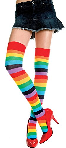 Std Size (Up to 175 lbs) - Rainbow Striped Thigh Highs