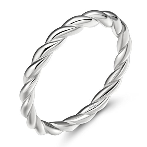 EAMTI 925 Sterling Silver Ring 2mm Stacking Twist Rope Ring Engagement Wedding Band 9