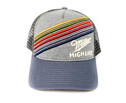 Miller High Life Trucker Hat - Navy & Grey with Embroidered Logo ()