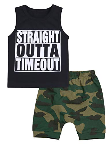 Toddler Infant Baby Boy Clothes Straight Outta Timeout Vest +Camouflage Shorts Outfit Set(0-6Months) ()