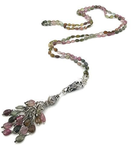 Long Tourmaline Necklace | Antique Gemstone Tassel Pendant | Unique Designer Jewelry Gifts For Women ()