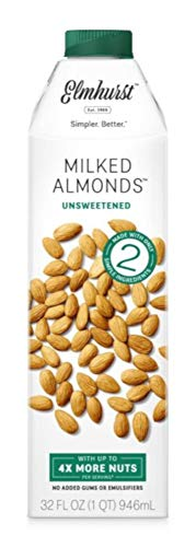 Elmhurst Milked - Unsweetened Almond Milk - 32 Fluid Ounces (Pack of 6) Only 2 Ingredients, 4X the Protein, Non Dairy, Keto Friendly, No Added Sugar, ()