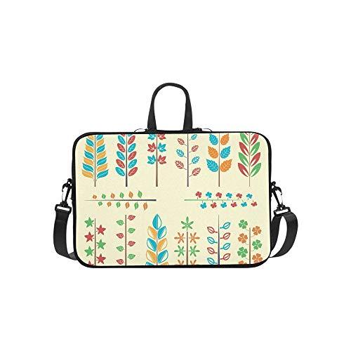 (Maple Leaf Ornament Collection Vector Image Pattern Briefcase Laptop Bag Messenger Shoulder Work Bag Crossbody Handbag for Business Travelling)
