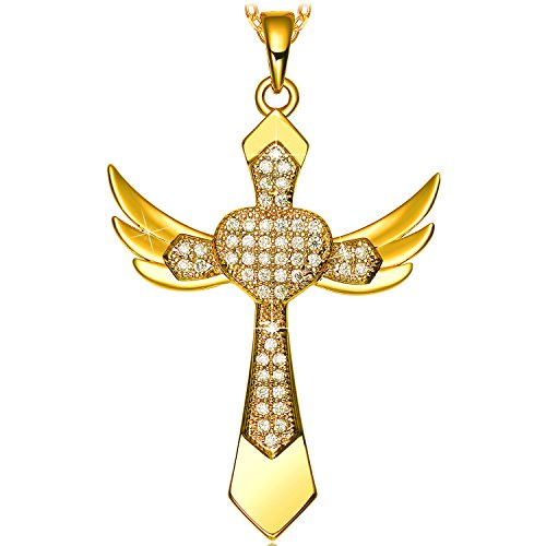 Rhinestone Heart Wing - NEEMODA Cross-Pendant Necklace for Women Birthday Anniversary Valentines Mothers Day Gifts for Her Girls Religious Jewelry Zirconia Angel Wings