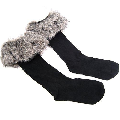 Easyfashion Ladies Faux Fur Socks Leg Warmer Winter Stocking Fur Cover Cuff Fit Boots (gray) (Faux Fur Boot Sleeve)
