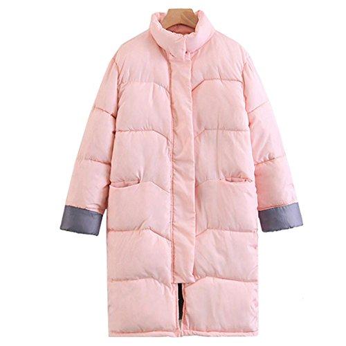 Larga Sección Moda Gruesa La Acolchada Invierno Calientes Rosa En Mujer Chaquetas Algodón De Chaqueta Overcoat Rzw8BT