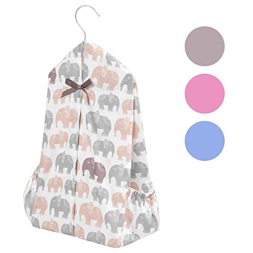[Upgraded] TILLYOU Hanging Nursery Diaper Storage Organizer Portable & Fold-able Diaper Caddy Stacker with Side Pockets for Crib, Machine Washable and Roomy Space, DIY 3 Parts Included, Gray Elephants