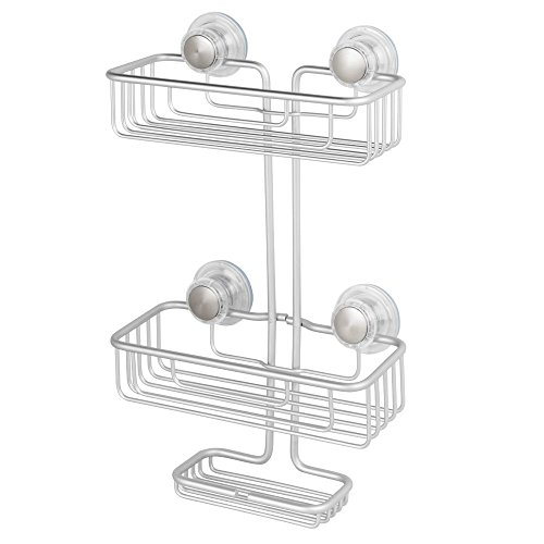 Price comparison product image InterDesign Metro Rustproof Aluminum Turn-N-Lock Suction, Bathroom Shower Caddy for Shampoo, Conditioner, Soap - 3-Tiers, Silver