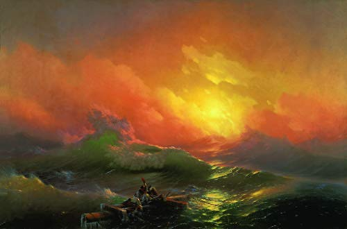 $50-$4000 Hand Painted Art Paintings by College Teachers - The Ninth Wave RSSP1 Romantic Ivan Aivazovsky Russian Oil Painting Reproduction for Wall Decor Canvas Old Famous -Size07