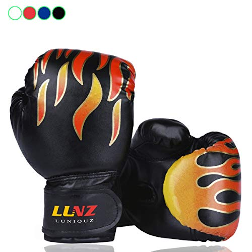 Kid Boxing Gloves by Luniquz, Child Punching Gloves Punch Bag Fight Sparring Training, 6oz for 3 to 8 YR /Black