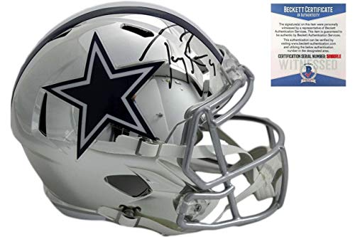 (Tony Romo Autographed Helmet - Chrome Speed Beckett - Beckett Authentication - Autographed NFL Helmets)