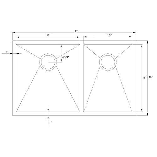 Decor Star H-003-Z 33 Inch x 20 Inch Undermount Offset Double Bowl 16 Gauge Stainless Steel Luxury Handmade Kitchen Sink Zero Radius by Decor Star (Image #7)