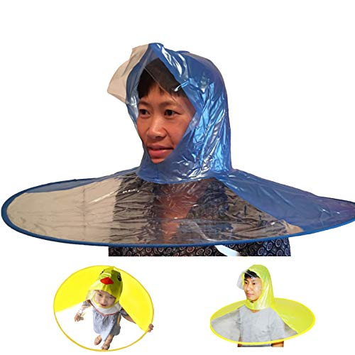 Healthy & Happy head wear hand free foldable raincoat umbrella for fishing hiking and school (Medium) ()