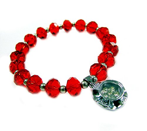 Linpeng Spinner Charm Ruby Faceted Rondelle Crystal Beads Stretch Bracelet in Bag_Pup07-07