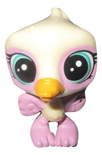 (Littlest Pet Shop City Ride Replacement Cream & Pink with Aqua Blue Green Eyes Ostrich Opaline Featherwisp #69 Loose/Packaged in Parts Bag)