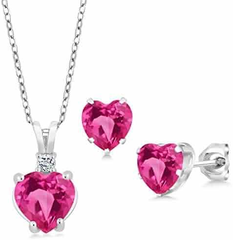 332291bf8e75a6 Gem Stone King 3.48 Ct Heart Shape Pink Created Sapphire 925 Silver Pendant  Earrings Set