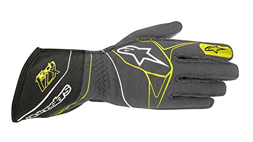 ALPINESTARS TECH 1-ZX GLOVES - ANTHRACITE/BLACK/YELLOW FLUORESCENT - SIZE 2XL - SFI 3.3 LEVEL 5/FIA 8856-2000
