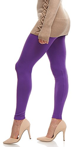 LMB | Seamless Full Length Leggings | Variety of Colors | One Size | Purple ()