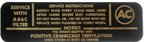 1962-1965 GM CARS & TRUCKS AC SYSTEM 4-BARREL V-8 ENGINE AIR CLEANER DECAL - STICKER