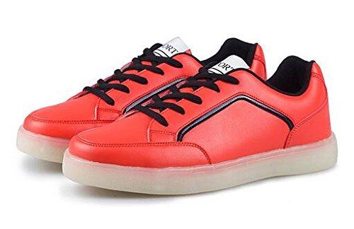 Women&Men LED Sneakers Flashing USB Charging Shoes(red 38/7 B(M) US Women/5 D(M) US Men)