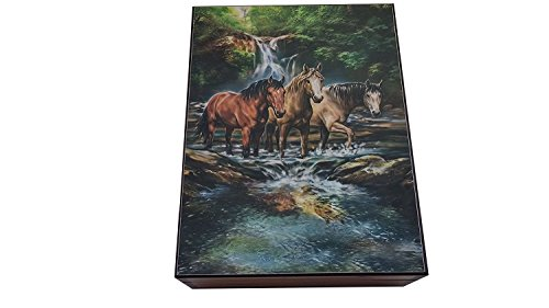 Amish Made Waterfall Horses Cedar Chest Box, 6