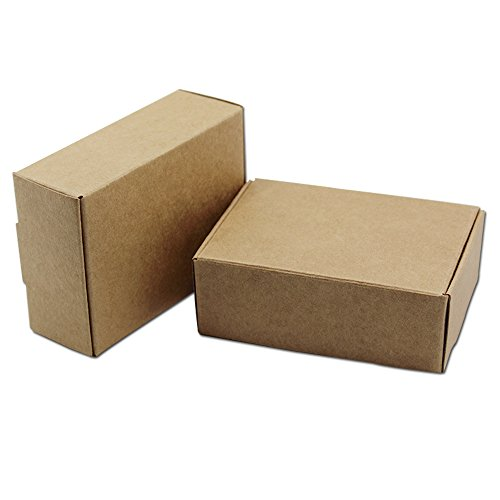 50Pcs Brown Kraft Paper Boxes Small Size Gifts Crafts Candy Jewelry Pearl Handmade Soap Packaging Boxes Wedding Favor 8x6x2.2cm (3.1x2.4x0.9 (Brown Cake Favor Boxes)