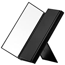 Makeup Mirror Tri-fold 90° Adjustable Stand Beauty Mirror Portable Travel Vanity Mirror for Cosmetic - Black