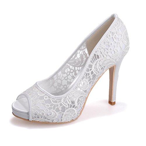 SoiréE L Pour 01 Pompes amp; amp; Femmes 6041 Mariage Dentelle Peep Chaussures CarrièRe VêTements Mariage Bureau white Toes YC De qqfAS