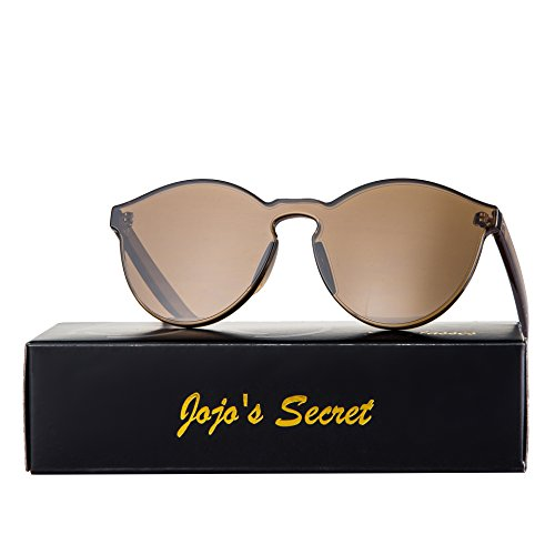 JOJO'S SECRET One Piece Rimless Sunglasses Transparent Candy Color Eyewear JS017 (Transparent&Brown, - Service Sunglasses Secret