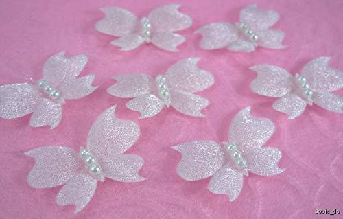 FidgetFidget Appliques Trim Cardmaking Bridal 50 Off White Padded Butterfly ()