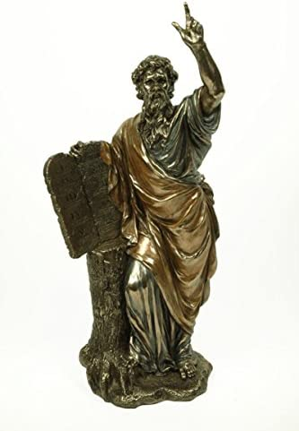 15 x 13 x 34 cm. Figura Decorativa Religiosa  Mois/és con las Tablas de la Ley Figuras Cl/ásicas