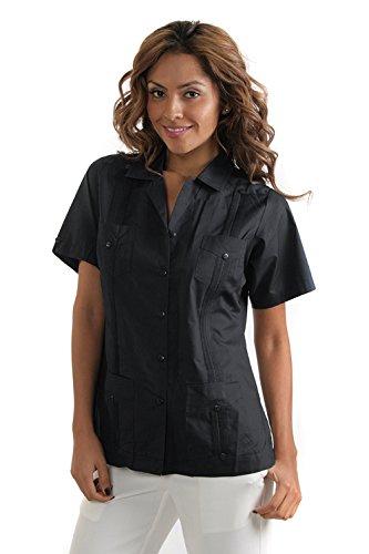 Women's Poly/Cotton 4-Pocket Guayabera (XL, Black)