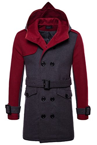 Capuchon Automne Parka Mens Gris À Double rouge Boutonnage Hiver Cintré Yyzyy Coat Hooded Jacket Long Trench Homme En Veste Manteau gqBwOvx