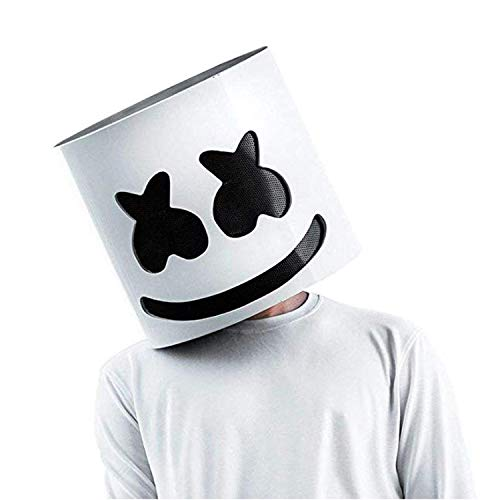 DJ Marshmello Mask Marshmello Helmet for Music Festival Halloween Mask Props Full Head Mask Halloween Costumes Cosplay Mask White -