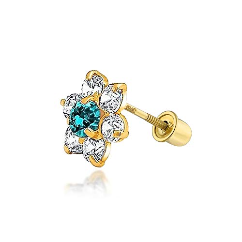Aqua Blue Cubic Zirconia Flower Helix Cartilage Ear Lobe Piercing Daith CZ 1 Piece Stud Earring Real 14K Gold Screwback ()