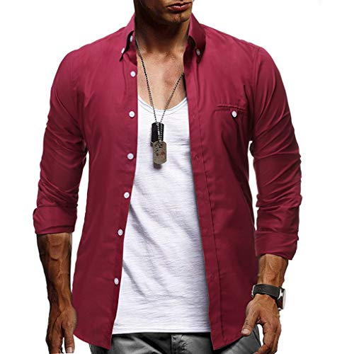 YAYUMI Fashion Men's Business Long Sleeve Solid Button Large Size Casual Top Blouse Shirts Wine (Different Types Of Trading In Stock Market)