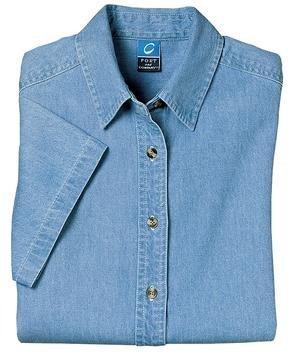 Port & Company Ladies Short Sleeve Denim Shirt (LSP11) 2XL Faded Blue