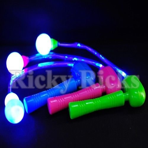 12 Light-Up Spinning Ratchets LED Ball Matracas Flashing Spinners Wands ()